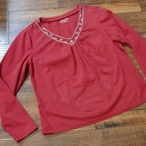 St. John's Bay Petite Large Red Long Sleeve Top
